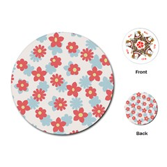 Flower Pink Playing Cards (Round)