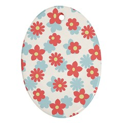 Flower Pink Oval Ornament (Two Sides)