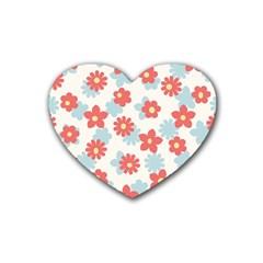 Flower Pink Rubber Coaster (Heart)