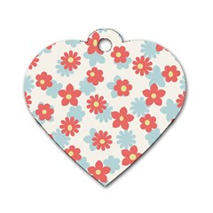 Flower Pink Dog Tag Heart (Two Sides)