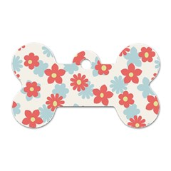 Flower Pink Dog Tag Bone (Two Sides)