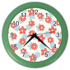 Flower Pink Color Wall Clocks