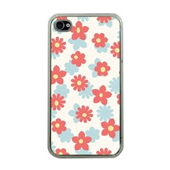 Flower Pink Apple iPhone 4 Case (Clear)