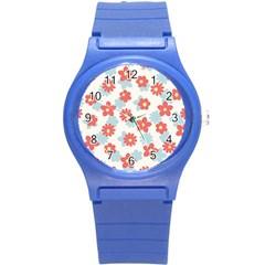 Flower Pink Round Plastic Sport Watch (S)