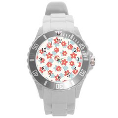 Flower Pink Round Plastic Sport Watch (L)
