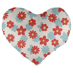 Flower Pink Large 19  Premium Heart Shape Cushions
