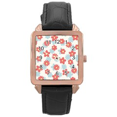 Flower Pink Rose Gold Leather Watch