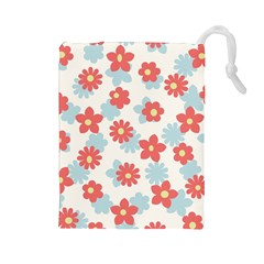Flower Pink Drawstring Pouches (Large)