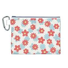 Flower Pink Canvas Cosmetic Bag (L)