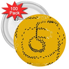Yellow Soles Of The Feet 3  Buttons (100 pack)
