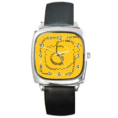 Yellow Soles Of The Feet Square Metal Watch