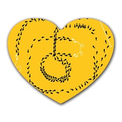 Yellow Soles Of The Feet Heart Mousepads