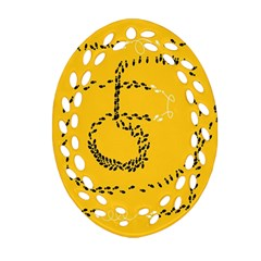 Yellow Soles Of The Feet Oval Filigree Ornament (2-Side)
