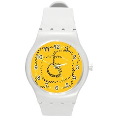 Yellow Soles Of The Feet Round Plastic Sport Watch (M)