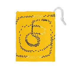 Yellow Soles Of The Feet Drawstring Pouches (Large)