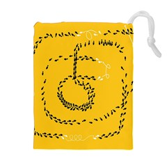 Yellow Soles Of The Feet Drawstring Pouches (Extra Large)