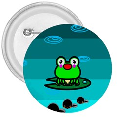 Frog Tadpole Green 3  Buttons