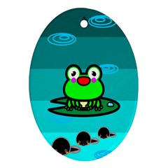 Frog Tadpole Green Ornament (oval)
