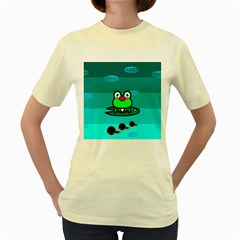 Frog Tadpole Green Women s Yellow T-Shirt