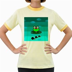 Frog Tadpole Green Women s Fitted Ringer T-Shirts