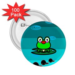 Frog Tadpole Green 2.25  Buttons (100 pack)