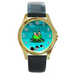 Frog Tadpole Green Round Gold Metal Watch