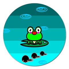 Frog Tadpole Green Magnet 5  (Round)