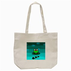 Frog Tadpole Green Tote Bag (Cream)