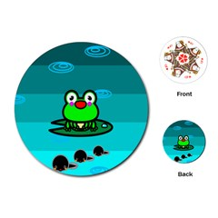 Frog Tadpole Green Playing Cards (Round)