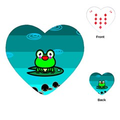 Frog Tadpole Green Playing Cards (Heart)