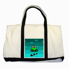 Frog Tadpole Green Two Tone Tote Bag
