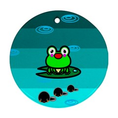 Frog Tadpole Green Round Ornament (Two Sides)