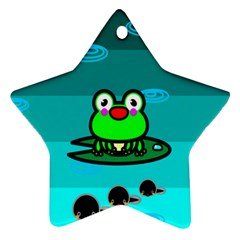 Frog Tadpole Green Star Ornament (Two Sides)