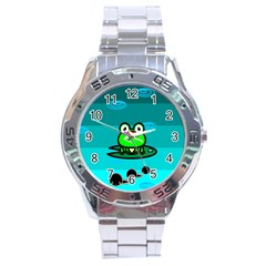 Frog Tadpole Green Stainless Steel Analogue Watch