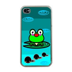 Frog Tadpole Green Apple iPhone 4 Case (Clear)
