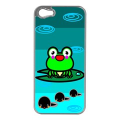 Frog Tadpole Green Apple iPhone 5 Case (Silver)