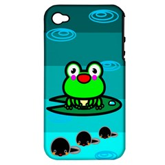 Frog Tadpole Green Apple iPhone 4/4S Hardshell Case (PC+Silicone)
