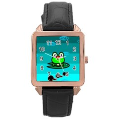 Frog Tadpole Green Rose Gold Leather Watch