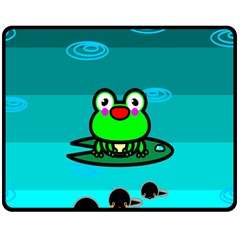 Frog Tadpole Green Double Sided Fleece Blanket (Medium)
