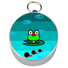 Frog Tadpole Green Silver Compasses