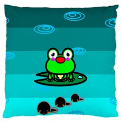 Frog Tadpole Green Large Flano Cushion Case (Two Sides)