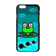 Frog Tadpole Green Apple iPhone 6/6S Black Enamel Case