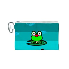 Frog Tadpole Green Canvas Cosmetic Bag (S)