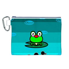 Frog Tadpole Green Canvas Cosmetic Bag (L)