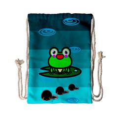 Frog Tadpole Green Drawstring Bag (Small)