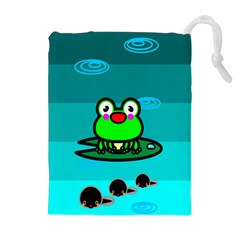 Frog Tadpole Green Drawstring Pouches (Extra Large)