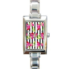 Flower Rose Rectangle Italian Charm Watch