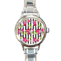 Flower Rose Round Italian Charm Watch