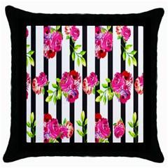 Flower Rose Throw Pillow Case (Black)
