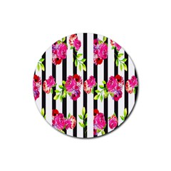 Flower Rose Rubber Round Coaster (4 pack)
